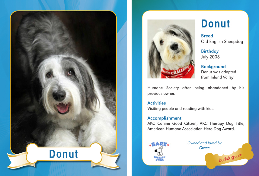 Donut Therapy Dog Trading Card Furry Photogs Custom Dog Trading Cards Dog Bookmarks